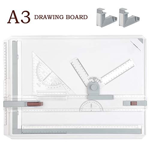 TIMESETL A3 Zeichenplatte Zeichenbrett DIN A3 Zeichentisch, 51 x 36,5cm Reißbrett einfache Zeichenplatte mit Zubehör Schnell-Zeichendreieck für das Professionell Office Arbeiten Studenten Studium