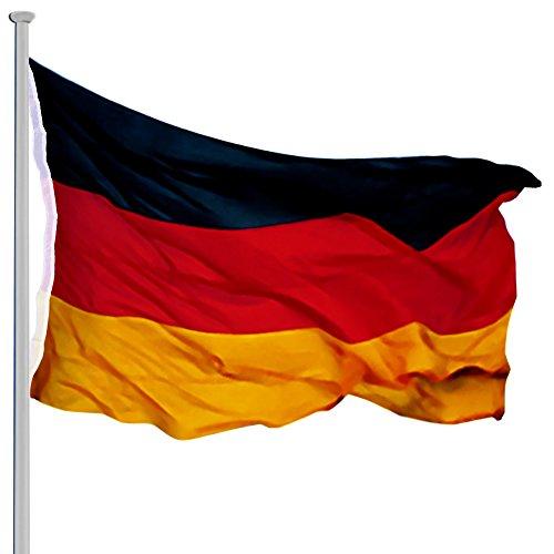 MONZANA Aluminium Fahnenmast 6,50 m, inkl. Deutschland Fahne + Bodenhülse + Zugseil