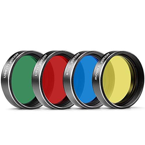 Neewer Standard 1,25 'Vier Farbfilter-Set für Teleskop-Okular: Rot / Gelb / Grün / Blau, ideal für die Lunar / Planetenbeobachtung, aus Aluminiumrahmen und bestes optisches Glas