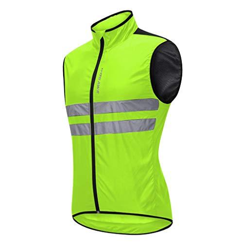 Baoblaze Atmungsaktiv Fahrradweste Radweste Windweste Laufweste Reflektierende Weste Winddicht Ärmellos Sport Mantel Jacke für Laufen Fahrrad Sport - Grün XL
