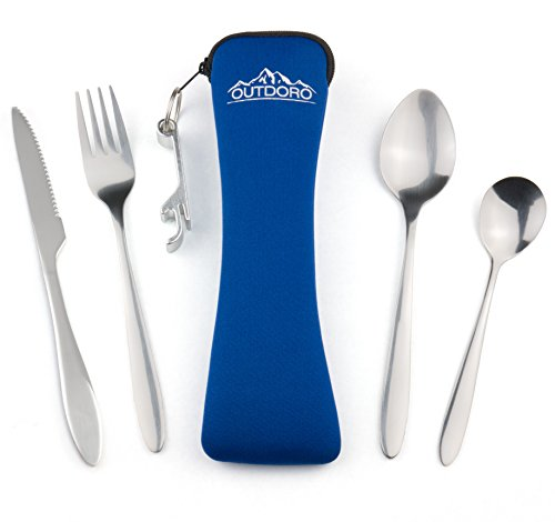Outdoro Campingbesteck und Reisebesteck aus Edelstahl mit Neopren-Bestecktasche - Ideales Besteckset für Outdoor und Reisen (blau)