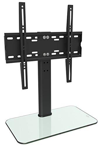 RICOO LCD TV Ständer Fernsehtisch Standfuss Glas Standfuß Halterung FS304W Höhenverstellbar Fernsehstand LED Fernseher Stand Flachbildschirm Aufsatz Möbel Rack VESA 400x400 Tischständer Universal / Schwarz-Weiß