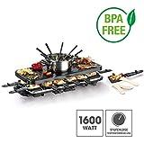 GOURMETmaxx Raclette Grill für 2 bis 12 Personen | Tischgrill Elektrisch mit Fondue Topf, Raclette Elektrogrill mit umfangreichem Zubehör | 1600 Watt [Schwarz]
