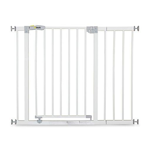 Hauck Open N Stop Treppen- / Tür- schutzgitter für Kinder inklusive 21 cm Verlängerung, Hunde und Katzen, zum Klemmen, mit Tür, verstellbar und erweiterbar, 75-101 cm, weiß grau