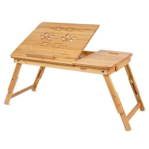 HOMFA Bambus Laptoptisch Betttisch Notebooktisch Notebook Lese Tisch Knietisch Höhenverstellbar mit Kühler 55*35*(22-30)cm