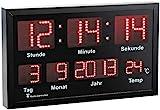 Lunartec LED Funkuhr: Multi-LED-Funk-Uhr mit Datum und Temperatur, 412 rote LEDs (Wanduhr LED)
