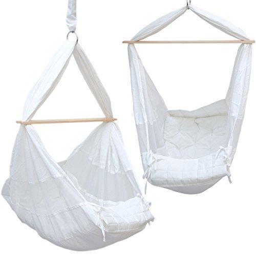 DuneDesign Babyhängematte Baby-Feder-Wiege mit Spreizstab Befestigungsset | 100% Baumwolle Naturstoff | Kinderhängematte Hängewiege | Babyschaukel in Weiß | Balstbarkeit max. 15KG