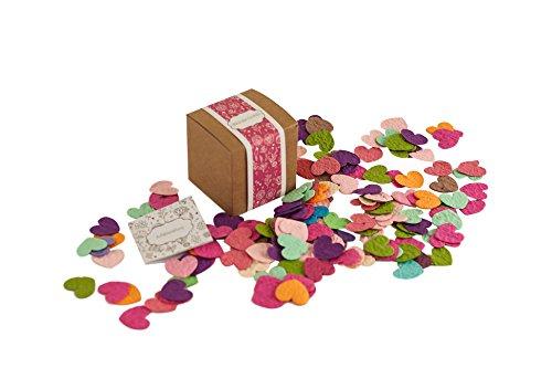 PAPERBLOOMS Seedbombs -Blühende Konfetti Herzen in bunt Blumensamen als besonderes Geschenk für Frauen oder Freundin