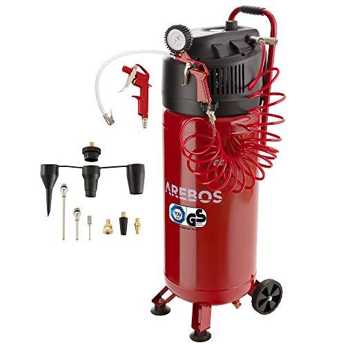 Arebos Druckluft Kompressor 50 L / 1500 W/Ölfrei / 10 bar / 97 dbA/inkl. 13-teiligem Zubehör-Set/stehend/Y-Anschluss
