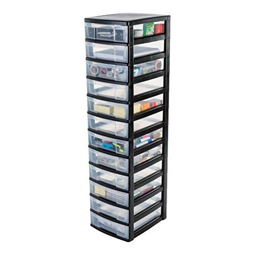 IRIS, Schubladenschrank / Schubladenbox / Rollwagen / Rollcontainer / Werkzeugschrank 'New Chest', NMC-012, mit Rollen, Kunststoff, schwarz / transparent