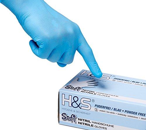 100 Stück blaue Nitrilhandschuhe von H&S (Größe XL = 10, blau) | puderfreie, latexfreie und unsterile Nitril Einweg Handschuhe und Untersuchungshandschuhe in Klinik-Qualität, medizinische Schutzhandschuhe EN455 | Tätowierhandschuhe - Tattoo Handschuhe | S Small M Medium L Large XL X-Large XXL verfügbar | * AKTION * REDUZIERT *