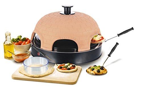 Emerio Pizzaofen, PIZZARETTE das Original, handgemachte Terracotta Tonhaube, patentiertes Design, für Mini-Pizza, echter Familien-Spaß für 6 Personen, PO-115984