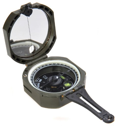 Huntington Kompass M2 Ultra Speedcompass / Geologenkompass / Militär Marschkompass / Peilkompass mit Neigungsgradient, Premium Qualität, ultraschnelle Richtungsanzeige durch federgelagerte Nadel mit Neigungsgradient + zwei integrierte Wasserwaagen zum professionellen Neigungsausgleich, bundeswehrgrün (M2 DE)