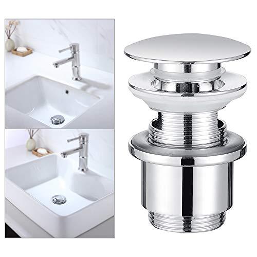Homelody Ablaufgarnitur POP UP Ventil mit Überlauf aus Messing 1 1/4 Zoll PUSH OPEN Ablaufventil Abflussgarnitur verchromt für Waschtisch/Waschbecken