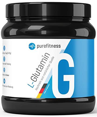 PREMIUM L-Glutamin Ultrapure Pulver 500g I Made in Germany I HOCHDOSIERT & hochrein I 99,95% Reinheit I 100 Portionen I Vegan I Pflanzlich hergestellt aus Mais