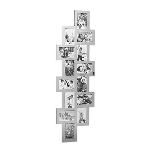 Relaxdays Bilderrahmen Collage, Bildergalerie 14 Bilder, Fotorahmen zum Aufhängen, mehrere Fotos, HxB: 118x36 cm, silber