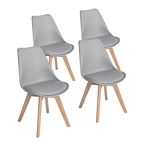 4er Set Esszimmerstühle mit Massivholz Eiche Bein, Retro Design Gepolsterter lStuhl Küchenstuhl Holz, Grau