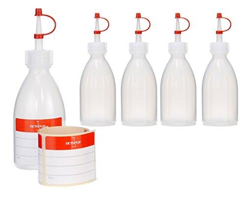 5 x 100 ml Quetschflaschen, Spritzflaschen aus LDPE mit Tropfverschluss, Garnierflaschen, Dekorationsflasche für Küche, Hobby oder Labor