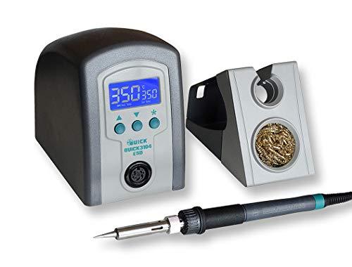 QUICK 3104 digitale ESD Lötstation 80W, 230V inkl. multifunktionalen Ablageständer, Silikonpad, Trockenreiniger, 100 °C bis 450 °C