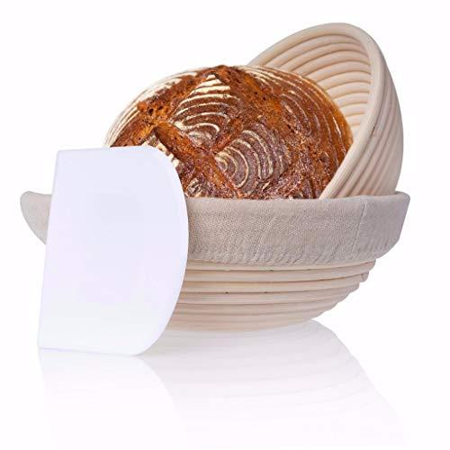 Gärkorb 2er Set rund inkl. Gratis Teigschaber, 2x Gärkörbe für Brot und Brotteig Peddigrohr 22 und 25cm, Brotform Leineneinsatz Holzschliff