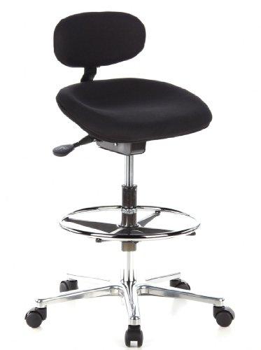 hjh OFFICE 608300 Arbeitsstuhl Drehstuhl WORK MF Stoff schwarz chrom, neigbarer Muldensitz, Ringfußstütze, wertig verarbeitet, ohne Armlehnen, Stehhilfe, Bürostuhl, Hocker, Drehhocker