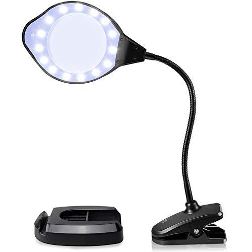EletecPro Lupenleuchte 2-4 Fach Vergrößerung,30 Watts mit LED Tageslicht, Klemme und Handy Halter Boden Lupenlampe mit standfuß ideal für Präzisionsarbeit, Lesen