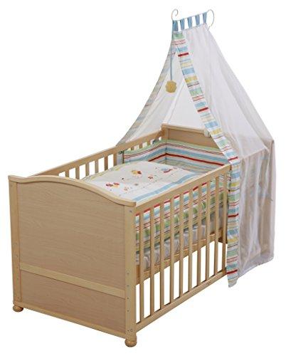 roba 03913V55 Komplettbett Set 'Butterfly', Babybett natur inkl. Bettwäsche, Himmel, Nest, Matratze, Kombi Kinderbett 70 x 140 cm umbaubar zum Junior Bett