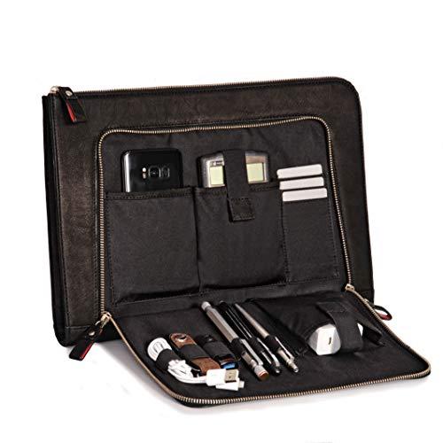 Donbolso Notebook Sleeve London schwarz - 13,3 Zoll Din A4 Ultrabook Aktentasche aus Echtleder für Herren und Damen