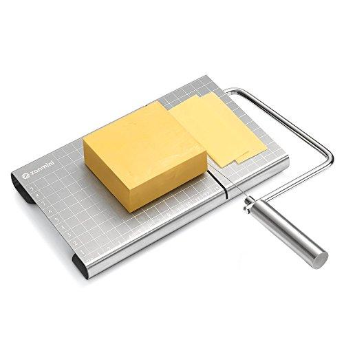 zanmini Käseschneider, Käsehobel Edelstahl, Cheese Slicer mit Schneiddraht und Maßstab-Platte, Variable Schnittstärke, Rostfreier Edelstahl - Silber