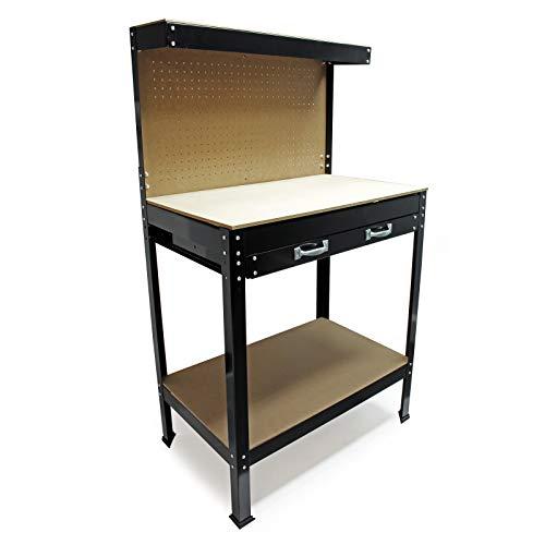 Werkbank 800x500x1400mm Werktisch Arbeitstisch Arbeitsplatte Lochwand Werkstatt Regal Schublade