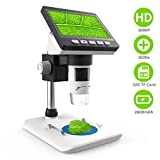 LCD Digital Mikroskop,CrazyFire 4,3 Zoll 1080P HD Digital Microscope Kamera Video Recorder 1000X Vergrößerung Zoom Nachladbare Batterie Endoskop mit 8 LEDs für Windows Pc(Mitgelieferte TF-Karte)