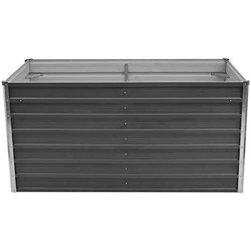 Festnight- Metall Hochbeet Gartenbeet Pflanzkübel aus Verzinkter Stahl für Terrasse Balkon 160 x 80 x 77 cm Grau