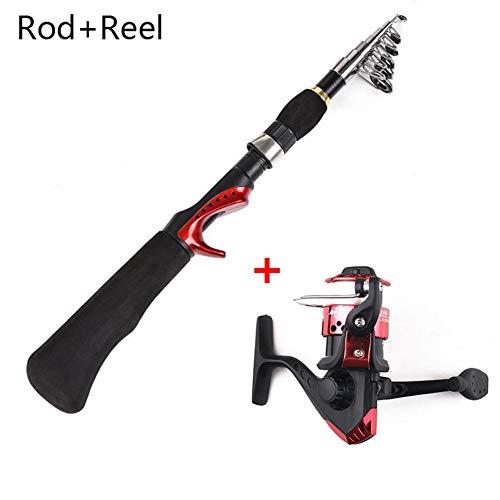 haodene Mini Faltbare Angelrute - Fishing Rod mit Teleskopstange 6 Abschnitten, Ideal Geschenk für Angler, Länge bis 1,6m