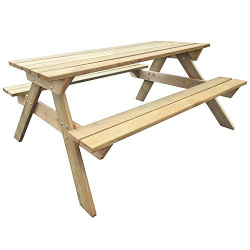 Anself Sitzgarnitur Picknicktisch aus Holz mit Sitzbänken 150 x 135 x 71,5 cm