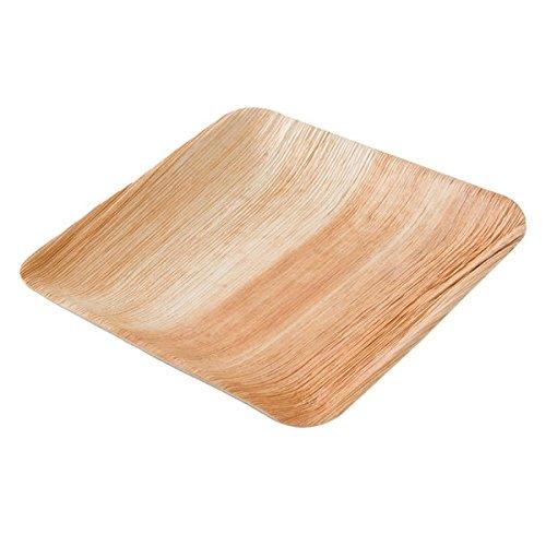 kaufdichgruen DTW05359 Einwegteller aus Palmblatt, 25 Stück, eckig, 20x20 cm, kompostierbar