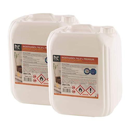 Höfer Chemie 30 L (3 x 10 L) Bioethanol 96,6% Premium - TÜV SÜD zertifizierte QUALITÄT - für Ethanol Kamin, Ethanol Feuerstelle, Ethanol Tischfeuer und Bioethanol Kamin