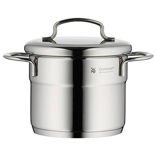 WMF Mini Kochtopf mit Metalldeckel,  klein, 12 cm, 1,0l Cromargan Edelstahl poliert, Induktion, stapelbar, ideal für kleine Portionen oder Singlehaushalte