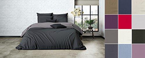 Uni Einfarbig Wende Bettwäsche Mistral Home Edel Perkal 100% Ägyptische Baumwolle, Größe:135x200cm Bettwäsche, Farbe:Dark Grey-Raven Grey