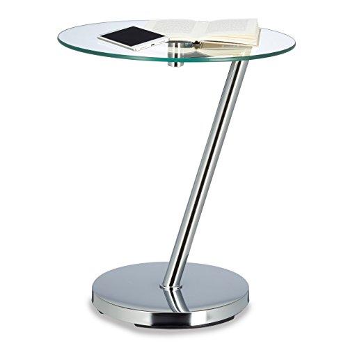 Relaxdays Kaffeetisch Glas u. Chrom, Runder Beistelltisch f. Kaffee Tee, Ablage f. Garten Hxbxt: 52 x 45 x 45 cm Edge, Metall, Silber, 45 x 45 x 52 cm