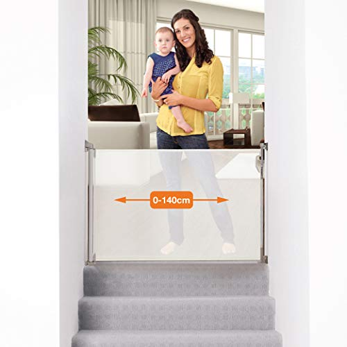 Dreambaby (0-140cm) - Einziehbares/Einrollbares Tür- und Treppenschutzgitter für Babys und Haustiere. Extra-Hoch, Versetzbar, geeignet für den Innen- und Außenbereich. 2019 Version! (Farbe: Weiß)