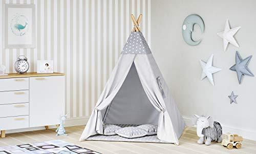 MALATEC Tipi Zelt für Kinder Spielzelt Indianer Baumwolle 3 Kissen Kinderzelt drinnen draußen 8702 , Farbe:Grau- Sterne