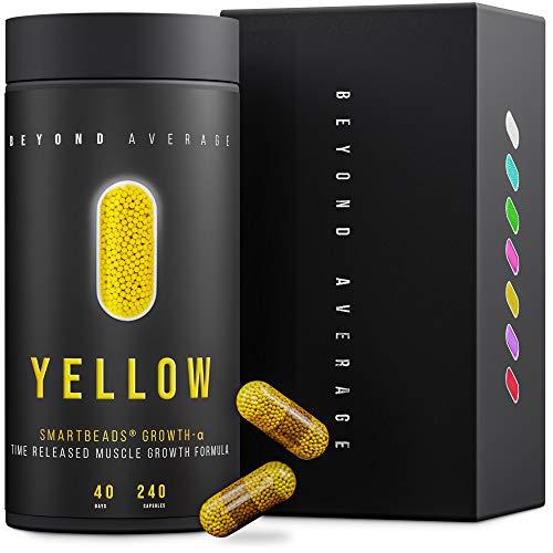 Beyond Average YELLOW | Time-Released 24h* Creatin + Beta-Alanin | 240 Smartbeads  Grow-M-Alpha Kapseln | Laborgeprüft | Entwickelt u. Hergestellt in Deutschland | Die neue Supplement-Generation