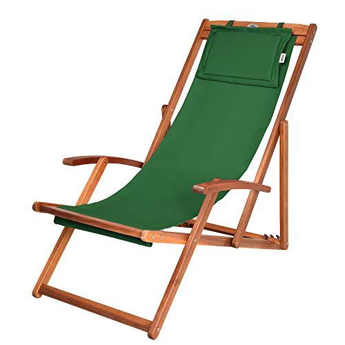 Liegestuhl Deckchair | Akazienholz Klappbar Atmungsaktiv Sonnenliege Strandstuhl Gartenliege Relaxliege | Grün