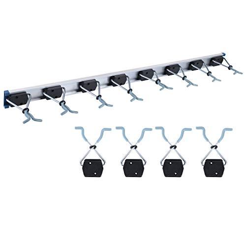 FIXKIT Alu-Gerätehalter-Set- Geräteleiste & 8 Gerätehalter - Leichte Montage/Werkzeughalter/Gerätehalter für Gartengeräte/Besen-Halter, 92cm