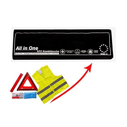 Verbandkasten mit Warneste Warndreieck und DIN 13164:2014 Verbandsmaterial/Verbandstofffüllung Auto Kombitasche als Erste-Hilfe-Set in SCHWARZ