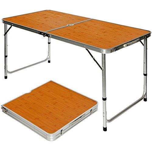 AMANKA klappbarer stabiler Campingtisch 120x60x70cm höhenverstellbar tragbar Kofferformat Aluminium Bambus