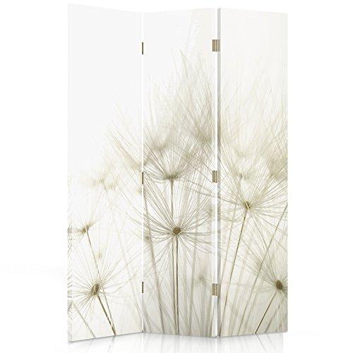 Feeby Frames. Raumteiler, Gedruckten auf Canvas, Leinwand Wandschirme, dekorative Trennwand, Paravent einseitig, 3 teilig (110x150 cm), LÖWENZAHN, Natur, Pflanzen, WEIß