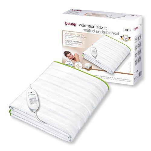 Beurer TS 15 Wärmeunterbett aus weichem Vlies, einfache Fixierung, 3 Temperaturstufen, 150 x 80 cm