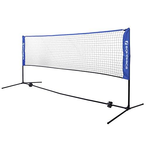 SONGMICS Tennisnetz 5 m Badmintonnetz Höhenverstellbar Federballnetz Mit Ständer SYQ500V1