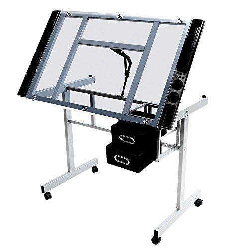Yahee Zeichentisch Schreibtisch Architektentisch, Neigungsverstellbar mit 2 Schubladen